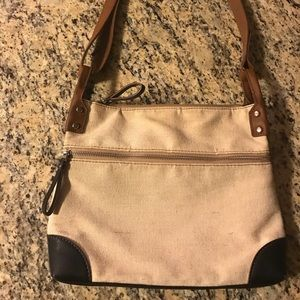 Fossil black/brown leather and cream woven handbag